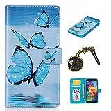 PU Cuir Coque Strass Case Etui Coque étui de portefeuille protection Coque Case Cas Cuir Swag Pour( Samsung Galaxy S5 I9600 )+Bouchons de poussière (2AB)