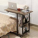 Computer Schreibtisch Desktop Home Bett einfache Schreibtisch Mobile kleine Tisch Seite ein paar 80 * 40 * 69 cm (Farbe : Nussbaum)