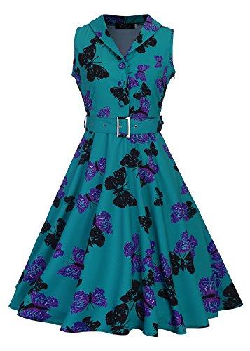 Womens 50s sin mangas cuello en V rockabilly vintage té vestido con...