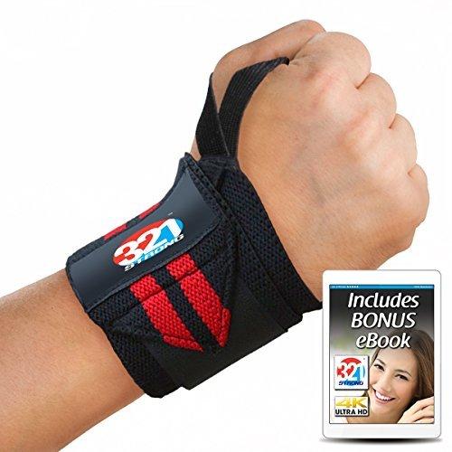 Fitness Wrist Wraps 35,6cm oder 50,8cm (Paar) aus Frottee mit Daumen Schlaufen für Gewichtheben und Kettlebells mit Bonus Ebook, 0, 20 Inch
