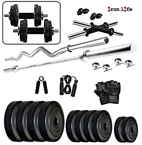 Iron life fitness kg home gym combo for beginners amazon