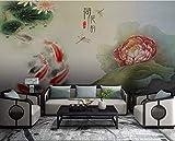 BHXINGMU Große 3D-Tapete Fototapete Lotus Karpfen Schlafzimmer Wohnzimmer Dekoration Aufkleber 320Cm(H)×450Cm(W)