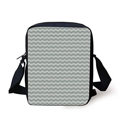 Designer Inspired Bag Purse Handtasche (CBBBB Abstract,Curvy Different Sized Lines Bold Stripes Ocean Waves Inspired Pattern,Light Sage Green White Print Kids Crossbody Messenger Bag Purse)