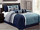 California King , Navy : 7-Piece Luxury Quilted Patchwork Comforter Set (California King, Navy)