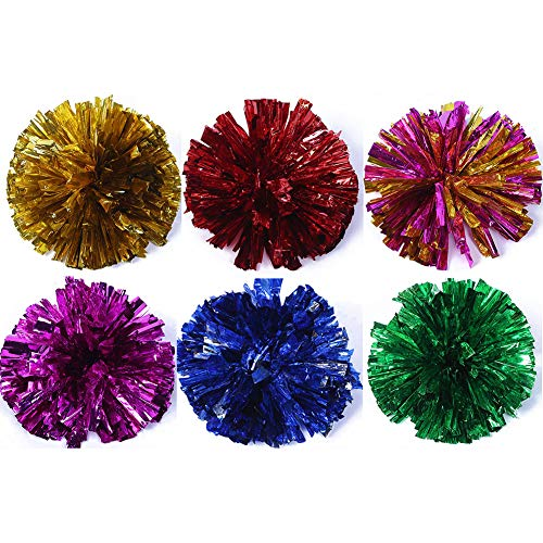 Erioctry of Plastic Cheerleader Pom Flower Metallic Folie & Kunststoffring Sport Party & Dance Kostüm Abendparty, (4er Pack), 6 Farben (Blau, Rot, Rot-Gelb, Grün, Gelb, - Cheerleader Kostüm Blau Gelb