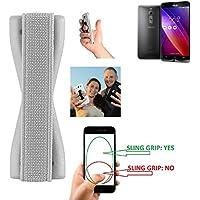 supporto dita per Asus ZenFone 2 4GB RAM Slipng grip mano gomma selfie, argento - K-S-Trade(TM)