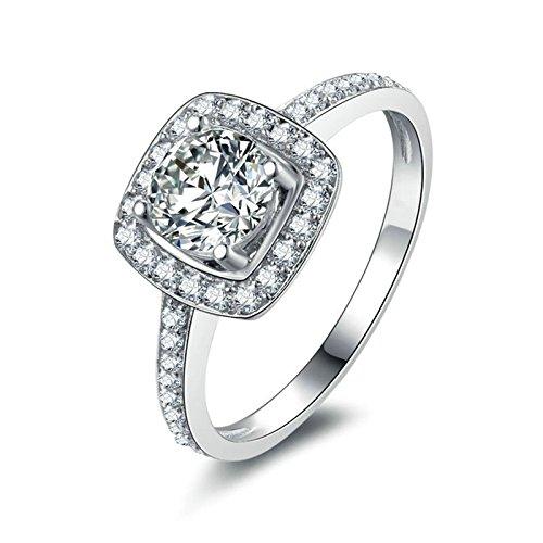 Daesar Damen Sterling Silber Ring Vintage 4-Steg-Krappenfassung Rund Brillant Weiß Strass Zirkonia...