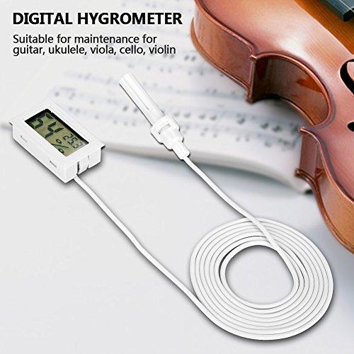 Tbest Thermometer Hygrometer Digital Indoor/Outdoor Gitarre Hygrometer Luftbefeuchter Temperatur Luftfeuchtigkeit Monitor Für Violine Gitarre Ukulele - 2pcs(Weiß) (Luftbefeuchter Viola)