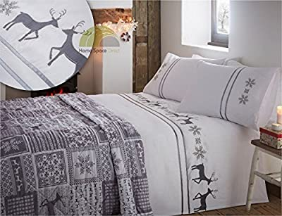 Christmas Embroidered Reindeer King Quilt Duvet Cover & 2 Pillowcase Bedding Bed Set Xmas Grey White - low-cost UK light store.