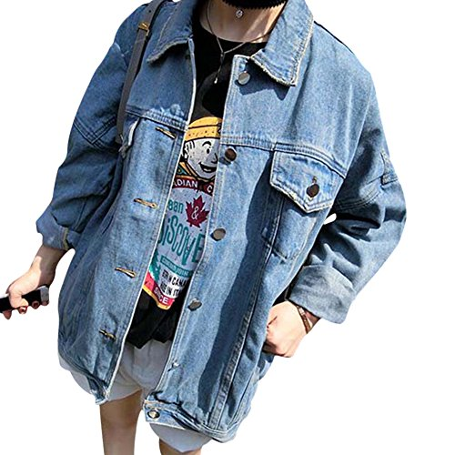 Donna giacca di jeans manica lunga lavato denim cappotto fidanzato jeans jacket giubbotto xl