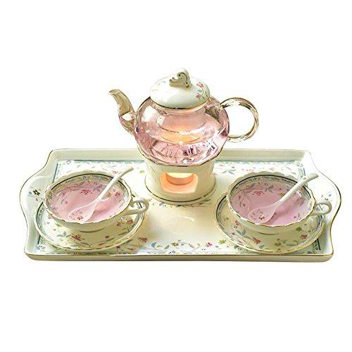 HAIZHEN Ensembles de dîner Fleur de fruits Ensemble de thé théière Théière de fruits chauffée au verre Ensemble complet de théière en céramique européenne Céramique (Couleur : #3, taille : A)