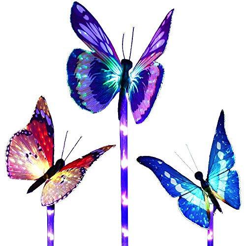 Luci solari da giardino a forma di farfalla che cambiano colore, a energia solare, confezione da 3 pezzi