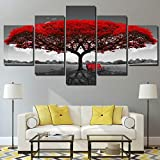 Canvas Painting 5 Piece Panel Print Art red Tree Scenery Pictures Large Wall Pictures for Living Room SJDBF