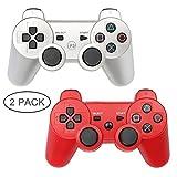 PS3Controller 2Stück Wireless Bluetooth 6-Achsen Controller Dualshock 3Gamepad für Playstation 3(Silber + Rot)