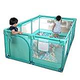WENYAO Box per Recinzione di Sicurezza per Bambini Verde con Cotone/Tappetino anticollisione, piazzale per Bambini Portatile assemblato, Altezza 66 cm