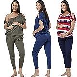HAPPY MAMA Women's Maternity Breastfeeding Lounge Top Joggers Pyjamas Set 1024p