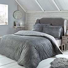 Sleepdown Ribbed Fleece Sparkle Glitter Grey Thermal Warm Cosy Super Soft Duvet Cover Quilt Bedding Set with Pillowcases - Double (200cm x 200cm)