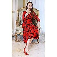 HYW la Cintura Alta Estampada con Cuello en V de Las Mujeres de Primavera Brilló Sobre la Parte Larga de la Rodilla del Vestido,Rojo,L