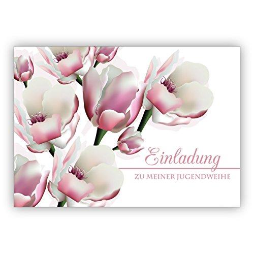 Edle leichte Einladungskarte mit üppigen Blüten: Einladung zu meiner Jugendweihe