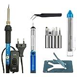 REFURBISHHOUSE 7 en 1 kit fer a souder de temperature reglable 60W Kit fer a souder pointes pompe soudure pincettes tube