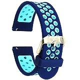 Elespoto 20mm Schnellwechsel-Uhrenarmband Silikon-Gummi-Armband für Samsung Classic Huawei 20mm Männer, Pebble Time Round 20mm, Bradley Timepiece (Blue Blue)