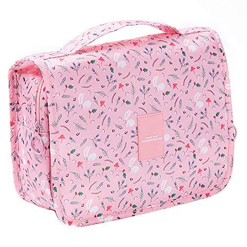Tasquite Reise-Kulturbeutel, hängende Kosmetiktaschen tragbar mit Haken Make-up Veranstalter-Fall für Frauen und Männer Reise-Zubehör - Rosa (Color : Pink, Size : M) -