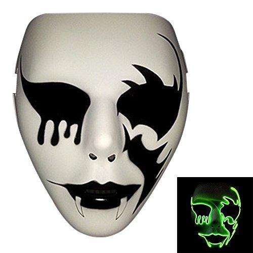 Bonamana Licht leuchten Maske Kostüm EL LED Draht Halloween Maske Tod Grimasse Masken Masquerade (Leuchtstoff (Purge Der Kostüm Maske)