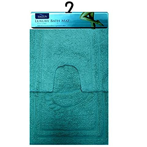 New Luxury Touch Decorative 2 Piece Bath Mat And Pedestal Set Non Slip Washable Bathroom Toilet Pile Rug (Peacock