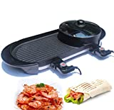 CY&Y Multi-function hot pot barbecue one pot electric baking pan Korean barbecue pot smokeless electric oven,110V