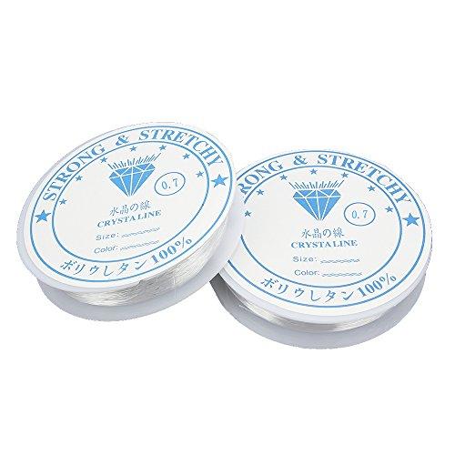 SENZEAL 2 x 11meters Fil de Perles élastique Extensible Bijoux pour Bracelet Artisanat 0,7 mm de diamètre Blanc