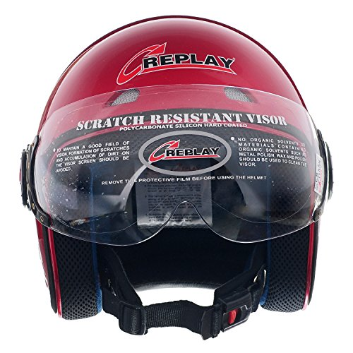 Replay Open Face Helmet Z-Way Super with Clear Visor (Cherry Red, M)  available at amazon for Rs.550