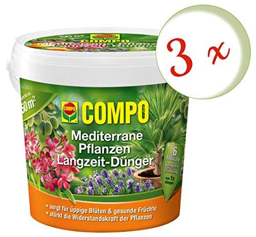 Oleanderhof® Sparset: 3 x COMPO Mediterrane Pflanzen Langzeit-Dünger, 1,5 kg + gratis Oleanderhof Flyer
