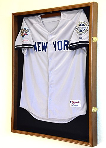 XL Baseball Jersey Rahmen Display Case Schrank Shadow Box w/98% UV-Schutz–Walnuss Fertig