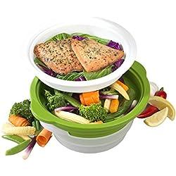 Salter Bw06259Duosteam Saine Micro-Ondes à légumes, DE LA Viande et du Poisson Cuit Vapeur en Acier Carbone avec Couvercle en Silicone, Vert