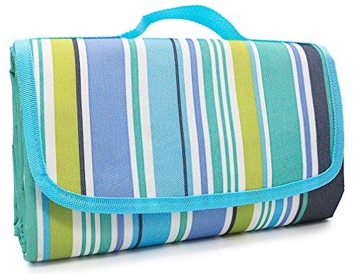 Omid faltbar Picknick Decke–wasserdicht & Camping Isomatte, mit Strap (Large, 198,1x 149,9cm blau), geeignet für Strand, BBQ, Reisen, Wandern, Gras–leicht zu reinigen und Carry für 1/2/3/4Personen (Wrap Entspannung)
