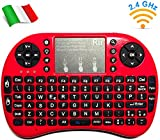 Rii Mini i8+ Wireless (layout ITALIANO) - Mini tastiera retroilluminata con mouse touchpad per Smart TV, Mini PC, HTPC, Console, Computer - Colore ROSSO
