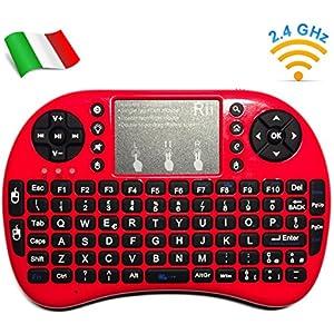 Rii, Mini i8+, Wireless-Mini-Tastatur mit Mouse-Touchpad und Hintergrundbeleuchtung für Smart TV, Mini PC, HTPC, Konsole…