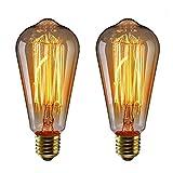 KINGSO 2 Pack E27 ST64 Edison Glühbirne Warmwiess 60W 220V Vintage Lampe Wolfram dekorative Glühlampe Filament Klassische Dimmbar