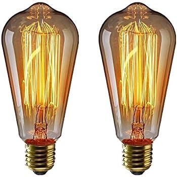 Fancibuy Dekorative Gl/ühfaden Vintage Gl/ühbirnen E27 40W T45 4 St/ück R/öhrenform Dimmbar Warmwei/ßes Licht Edison Schraube Gl/ühbirne 2700K 230V