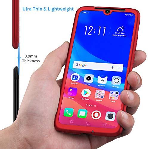 Funda Xiaomi Redmi Note 7,ORETECH Carcasa Redmi Note 7/Note 7 Pro Case 360 Grados con [2 x Cristal Protector de Pantalla de Vidrio Templado][Ligera]Ultra-Delgado Caso para Xiaomi Redmi Note 7-Rojo