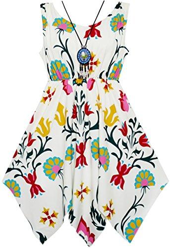 Sunboree Mädchen Kleid Blume Drucken Taschentuch Saum Mit Halskette Gr.134 (Kleid Taschentuch Saum)