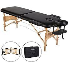 Lettino da Massaggio Portatile con Gambe Pieghevoli in Legno, Altezza Regolabile e Borsa da Trasporto.