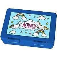 Preisvergleich für Brotdose mit Namen Achmed - Motiv Einhorn, Lunchbox mit Namen, Frühstücksdose Kunststoff lebensmittelecht