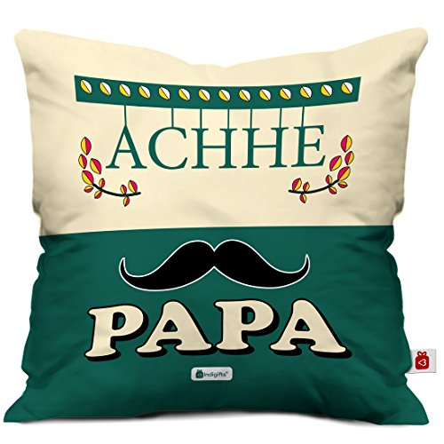 Indigifts Father Birthday Gifts Achhe Papa Beautiful Cushion Cover 12x12 Inches With Filler Green