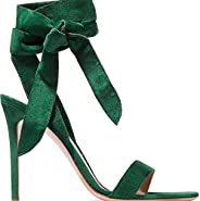 AORRIGELI Classic Sandals for Women Bowtie Lace up Stiletto Backless Single Band Open Toe High Heeled Syntheti