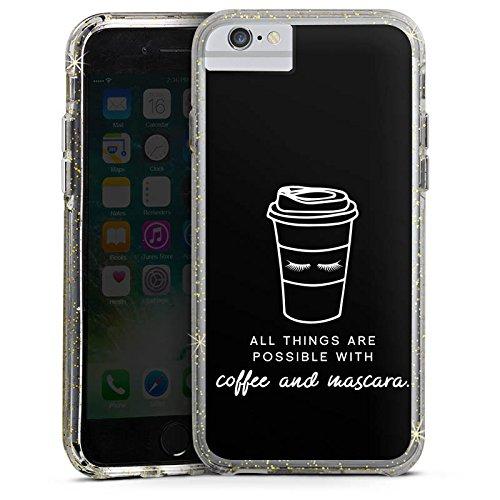 Apple iPhone 6s Bumper Hülle Bumper Case Glitzer Hülle Mascara Kaffee Spruch Bumper Case Glitzer gold