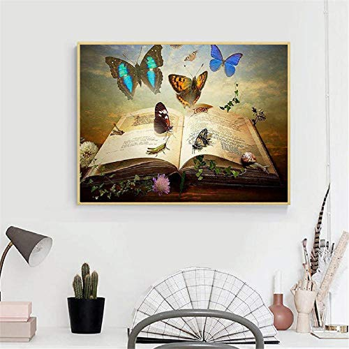 5D Volle Runde Perle Stickerei Schmetterling Buch Diamant Mosaik Strass Bild Kreuzstich Geschenk ()