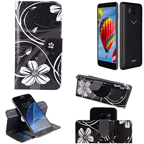K-S-Trade Schutzhülle für Vestel V3 5580 Hülle 360° Wallet Case Schutz Hülle ''Flowers'' Smartphone Flip Cover Flipstyle Tasche Handyhülle schwarz-weiß 1x