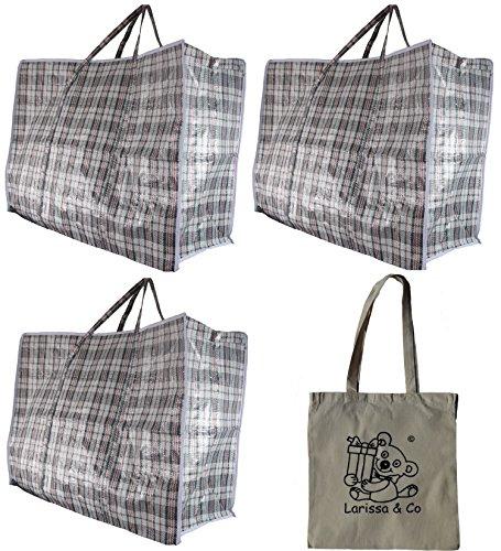 3(Drei) X mittel Größe Wäschekorb/Aufbewahrung/MOVING House Zip Top Tasche kariert Design und eine exklusive Larissa & Co Baumwolle Tote/Aufbewahrungstasche -