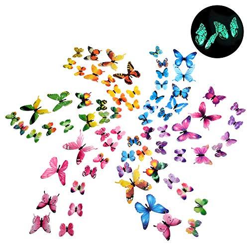 72 Stück Mehrfarbig Fluoreszierende Schmetterling Aufkleber DIY Luminous Wandsticker Wandgemälde Wandaufkleber Glowing in the Dark Wanddeko Schöne Home Dekoration
